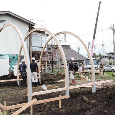 木製農業用ビニールハウス - 土台・基礎工事